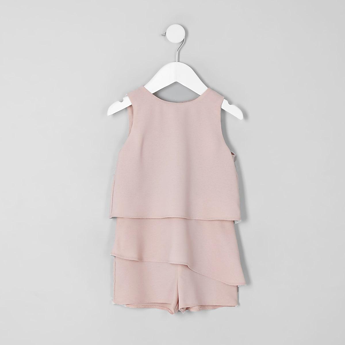 Mini - Roze playsuit met skort en ruches voor meisjes