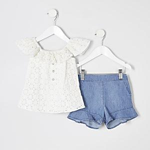 Mini - Outfit met witte geborduurde top voor meisjes