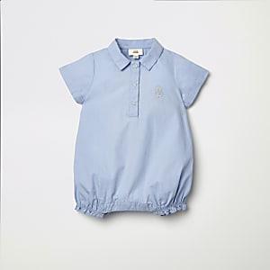 Barboteuse bleue légère à logo RI pour bébé