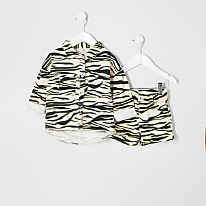 Mini girls zebra print shacket outfit