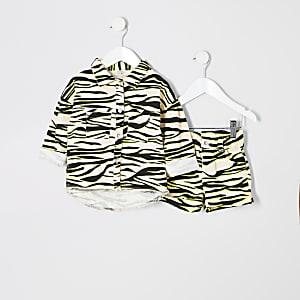 Mini - Outfit met shacket met zebraprint voor meisjes