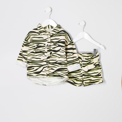 Mini girls zebra print shacket outfit