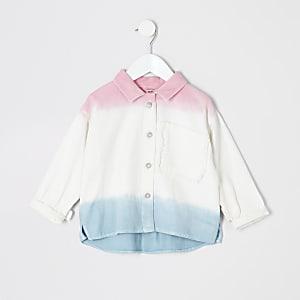 Veste chemise blanche effet dégradé pour mini fille