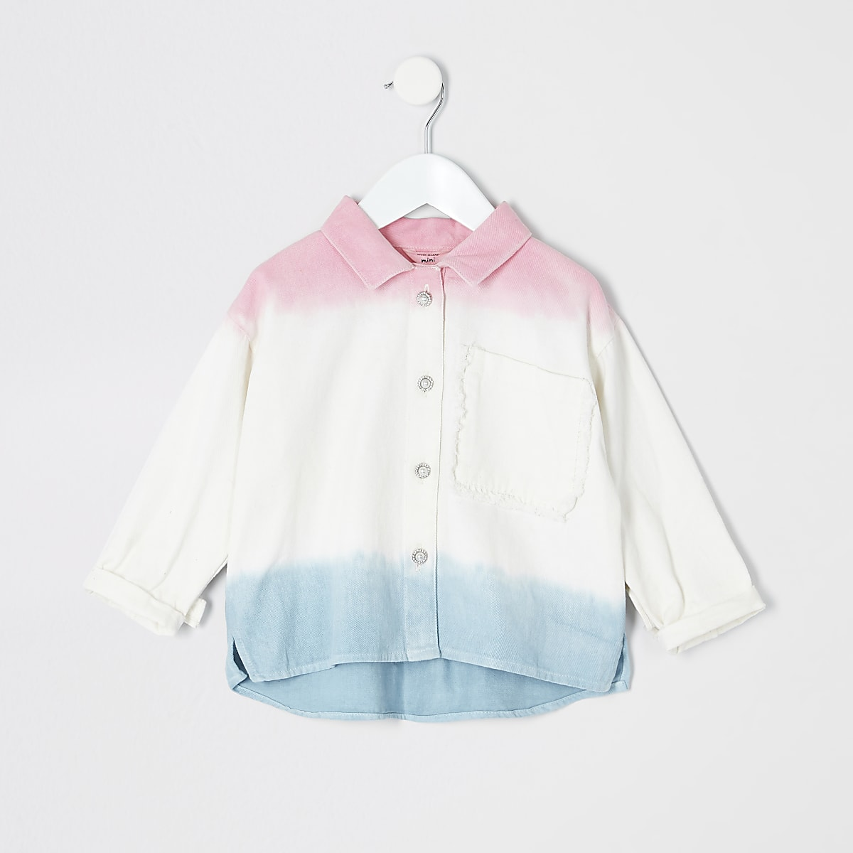 Mini girls white ombre shacket