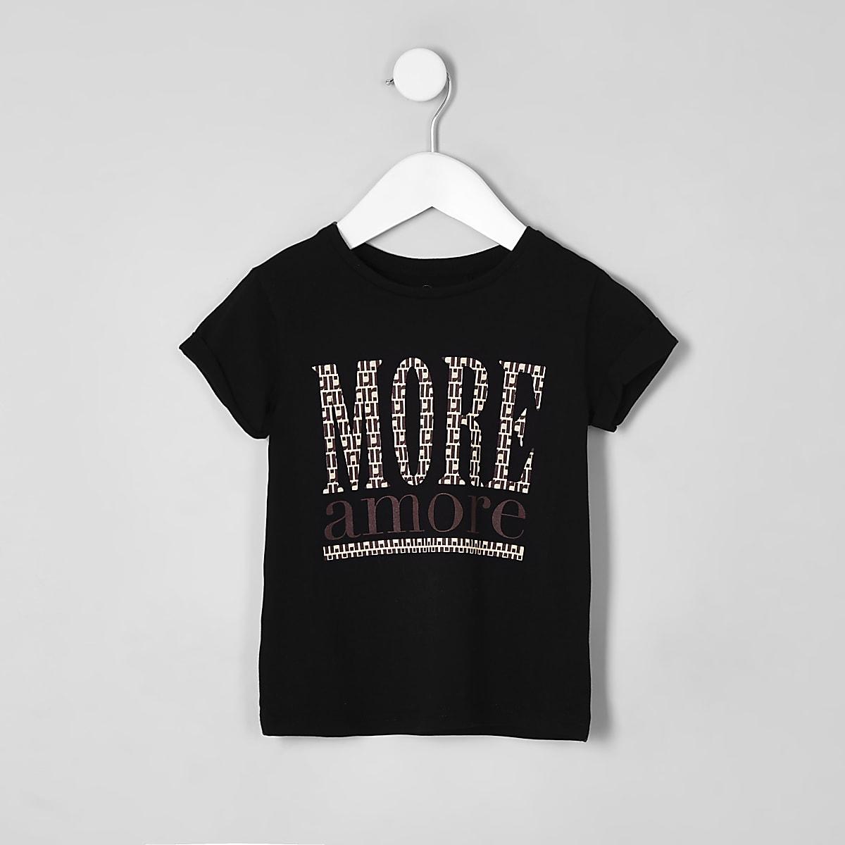 Mini girls black 'More amore' T-shirt