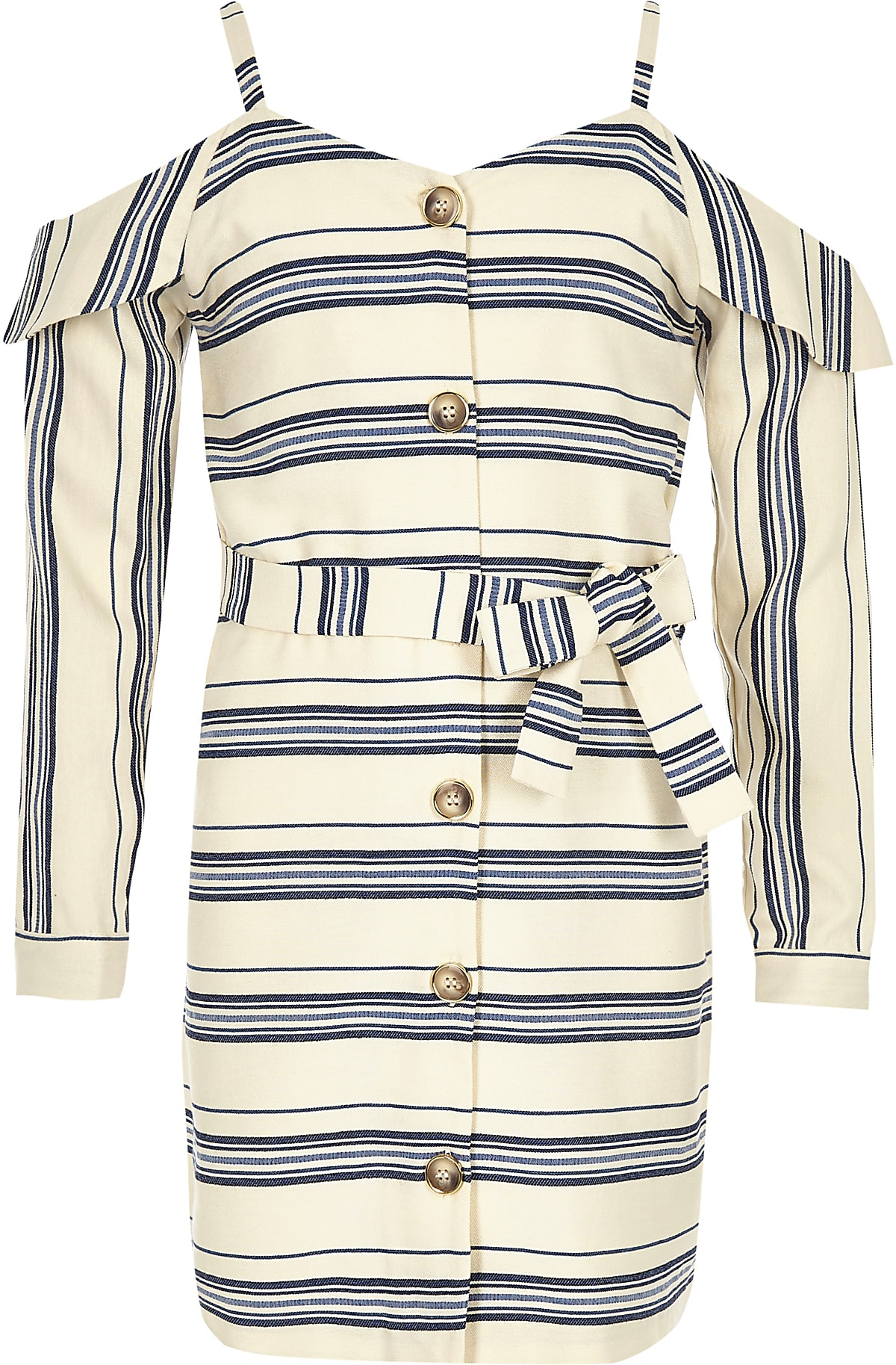 Girls navy stripe cold shoulder dress
