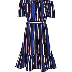 Girls blue stripe bardot midi dress