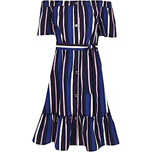 Blaues Bardot-Midikleid mit Streifen
