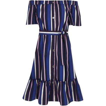 Girls blue stripe bardot midi dress