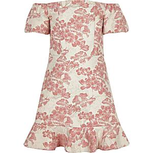 Robe de gala en jacquard corail à manches bouffantes pour fille