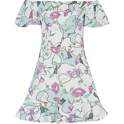 White floral bardot frill dress