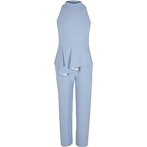 Blauwe jumpsuit met peplum en halternek voor meisjes