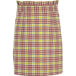 Girls pink check A line skirt