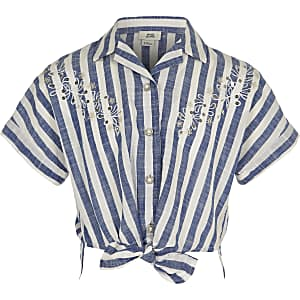 Girls blue stripe tie front shirt