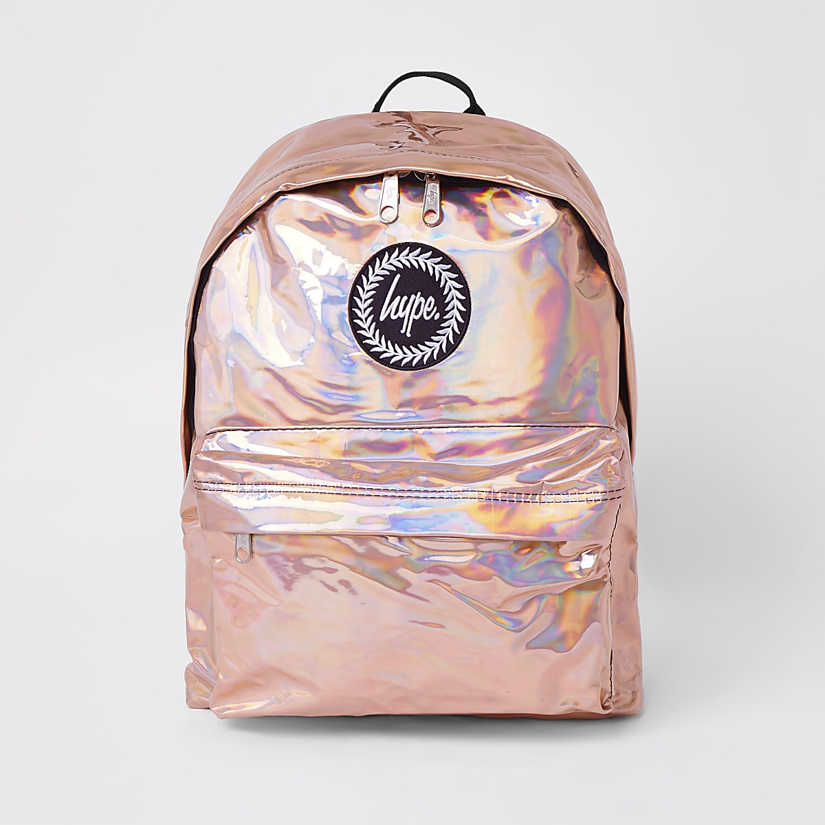 Girls Hype rose gold mirrored backpack