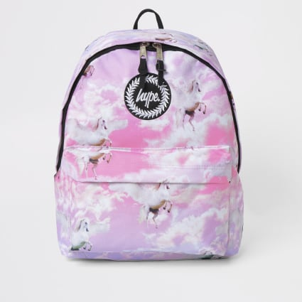 Girls Hype pink uncorn printed backpack