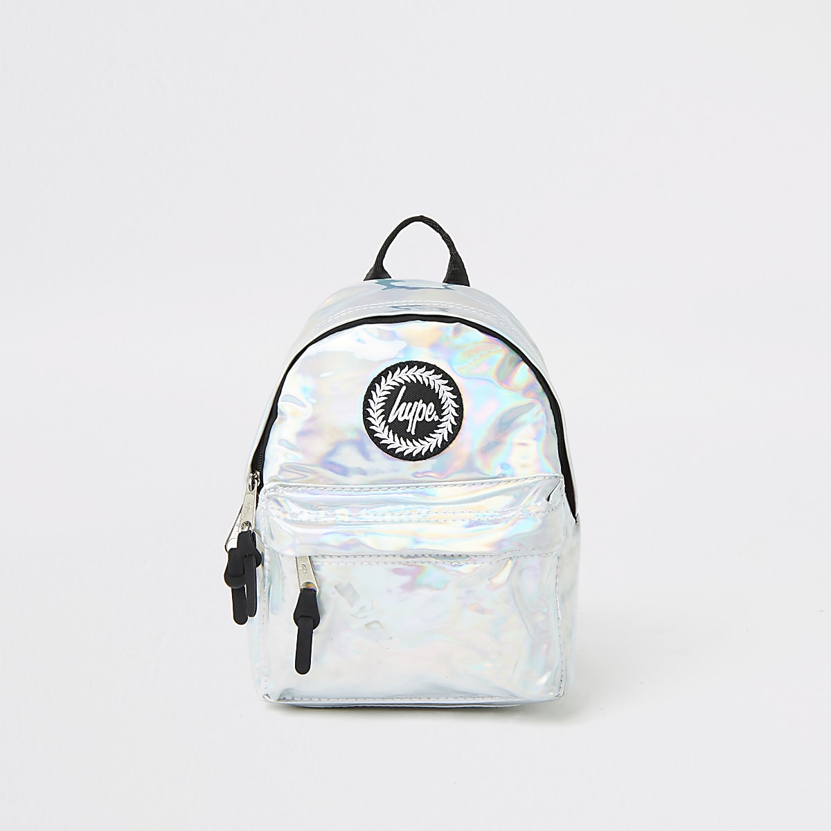 Girls Hype silver mirrored mini backpack