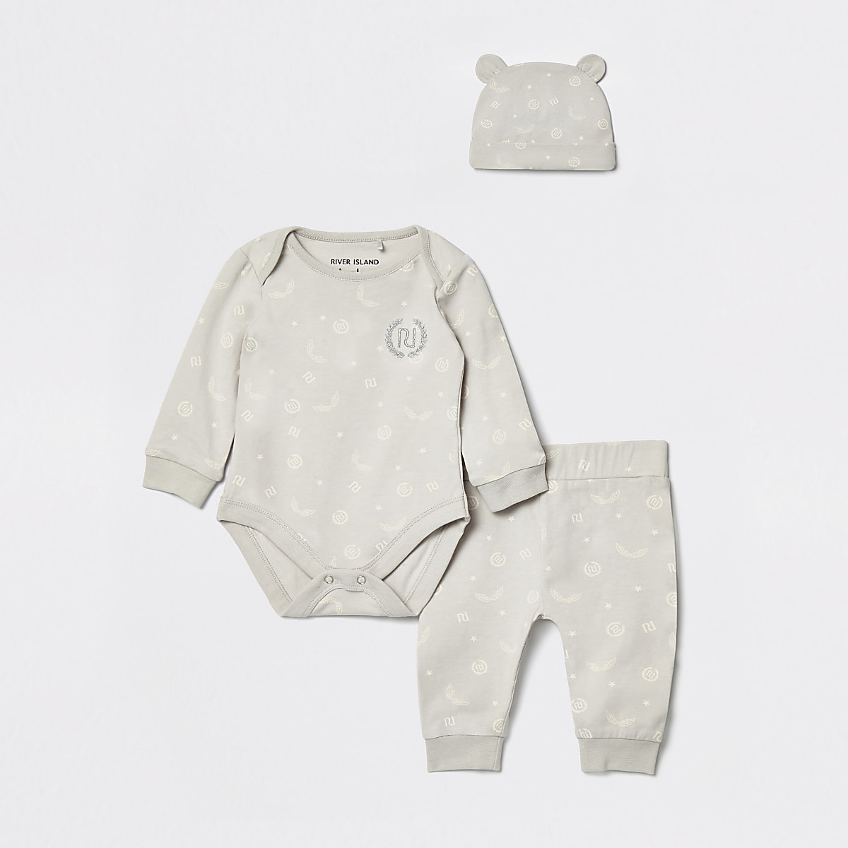 Baby grey RI monogram babygrow and hat set