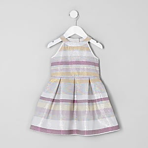 Mini girls pink stripe glitter prom dress