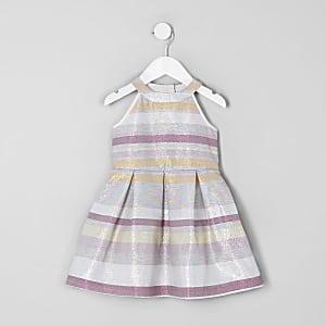 4ed8d4ee9c8 Robe de gala rayée rose pailletée mini fille