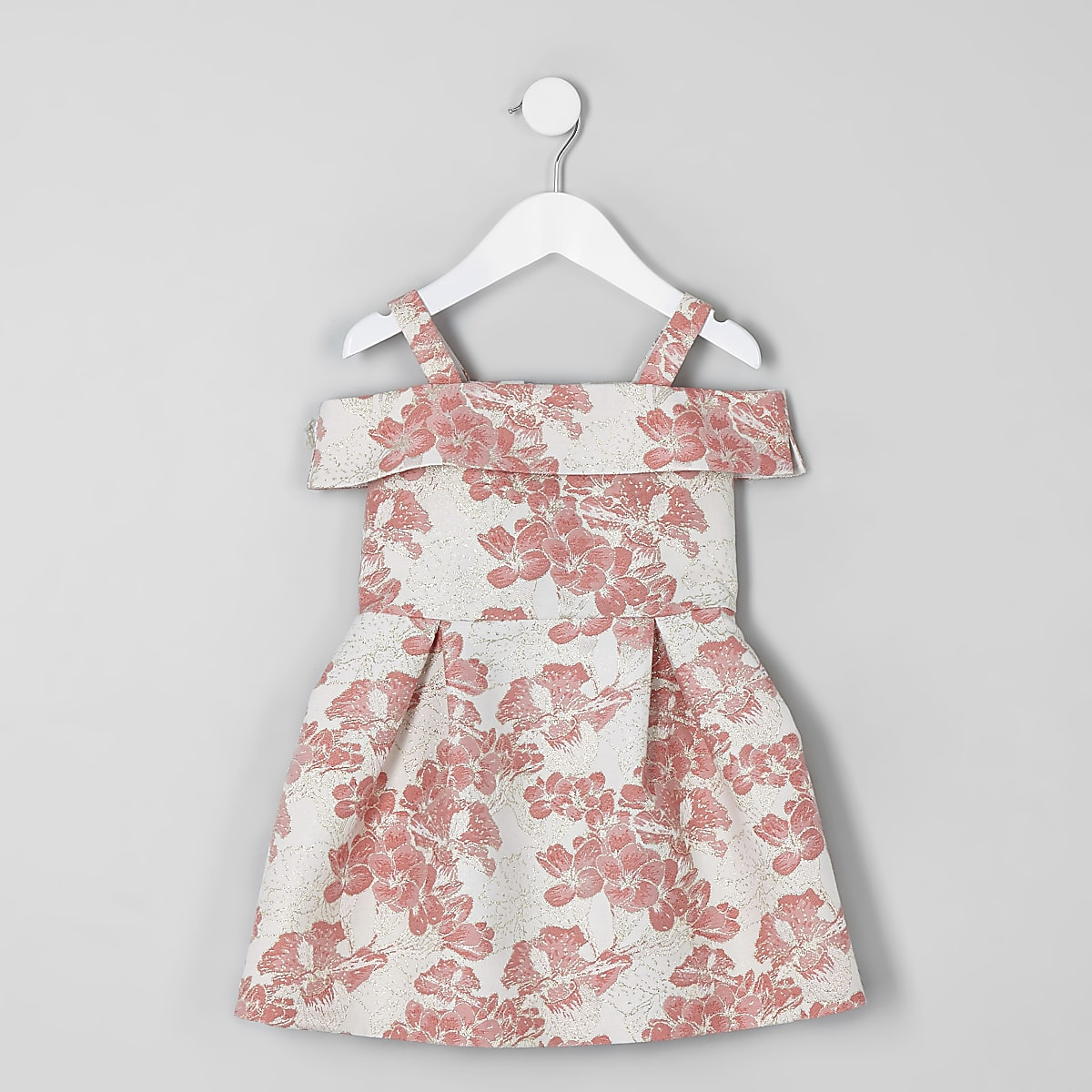 Mini girls coral floral jacquard prom dress