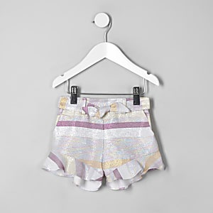 Mini girls pink stripe metallic frill shorts