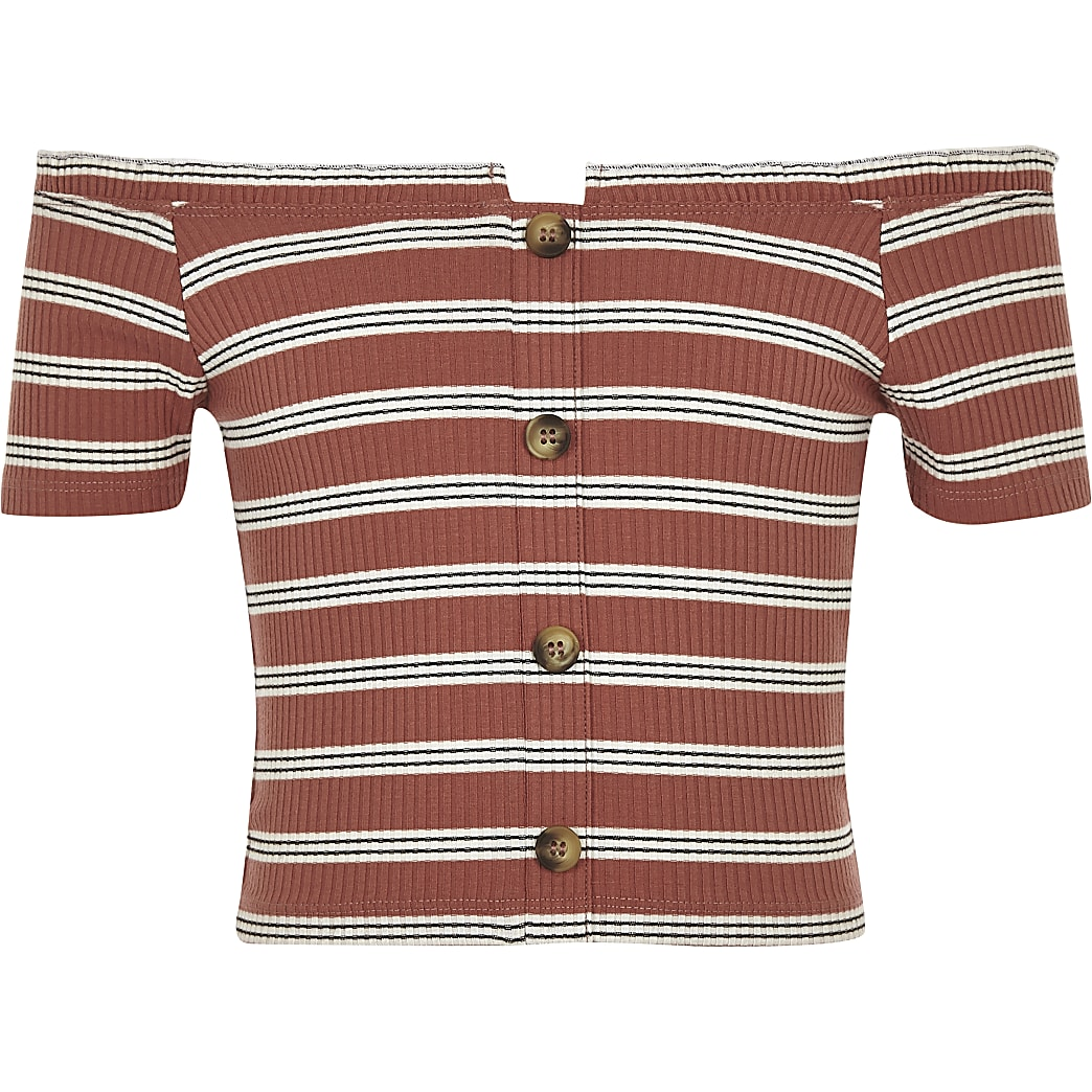 Girls pink stripe bardot top