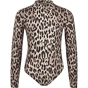 Grauer Body mit Leopardenprint