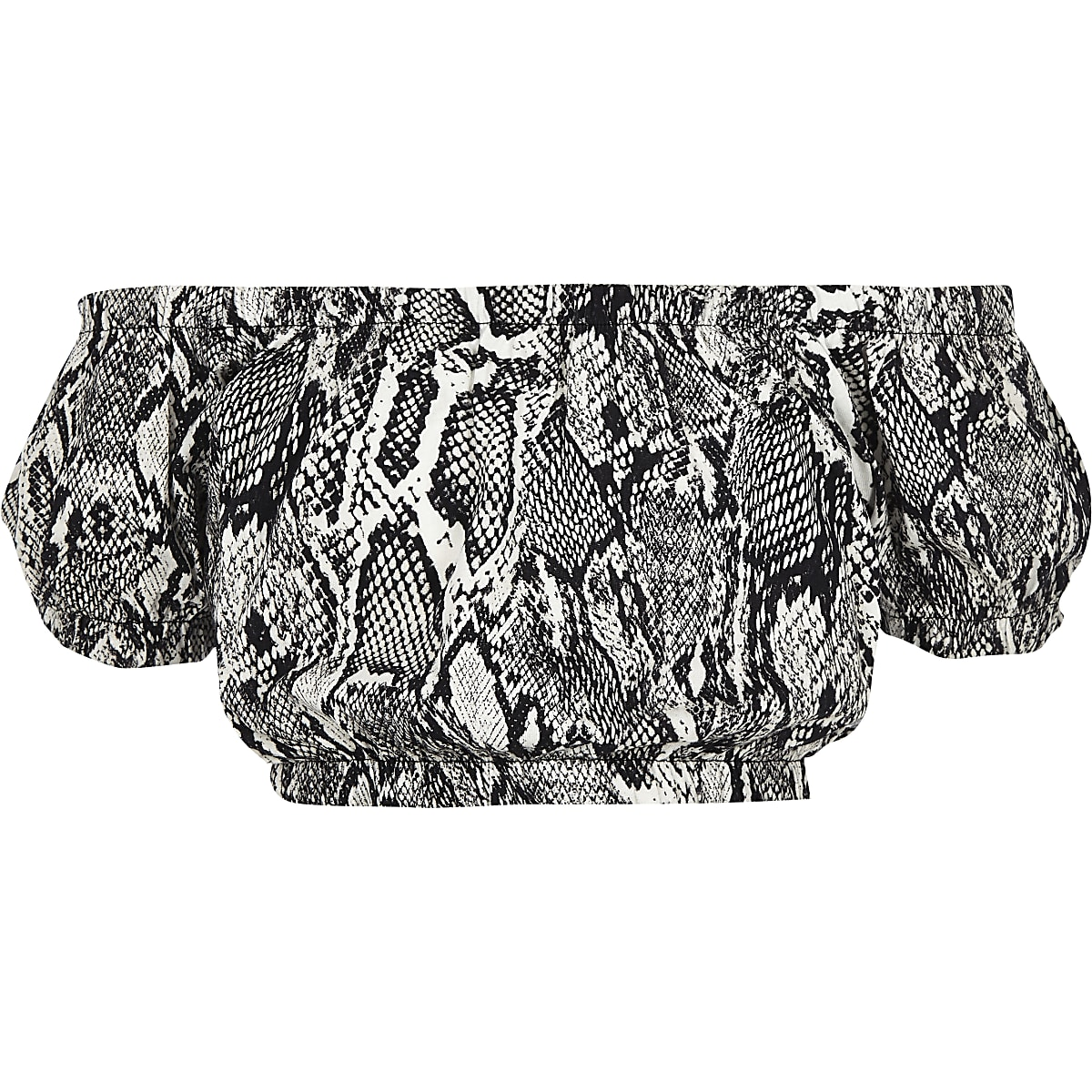 Girls grey snake print bardot top