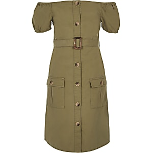Girls khaki belted bardot dress