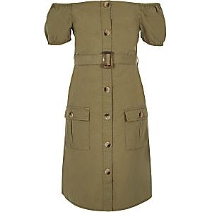 Bardot-Kleid mit Gürtel in Khaki
