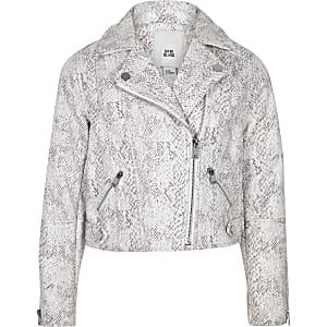 Girls cream snake print biker jacket