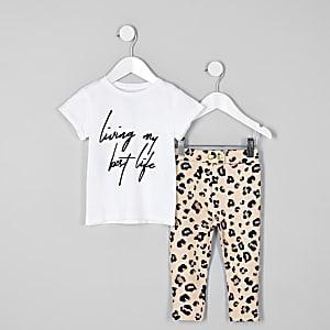 Ensemble legging et t-shirt blanc mini fille
