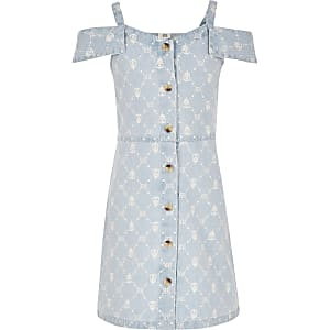 Girls blue RI monogram denim pinafore dress