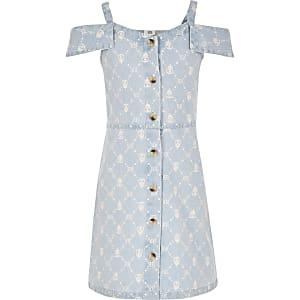 Robe chasuble en denim bleue avec logo RI pour fille