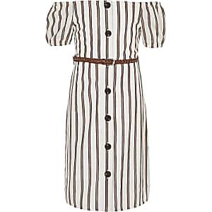 Weißes, gestreiftes Bardot-Kleid