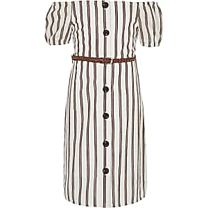 Girls white stripe bardot dress
