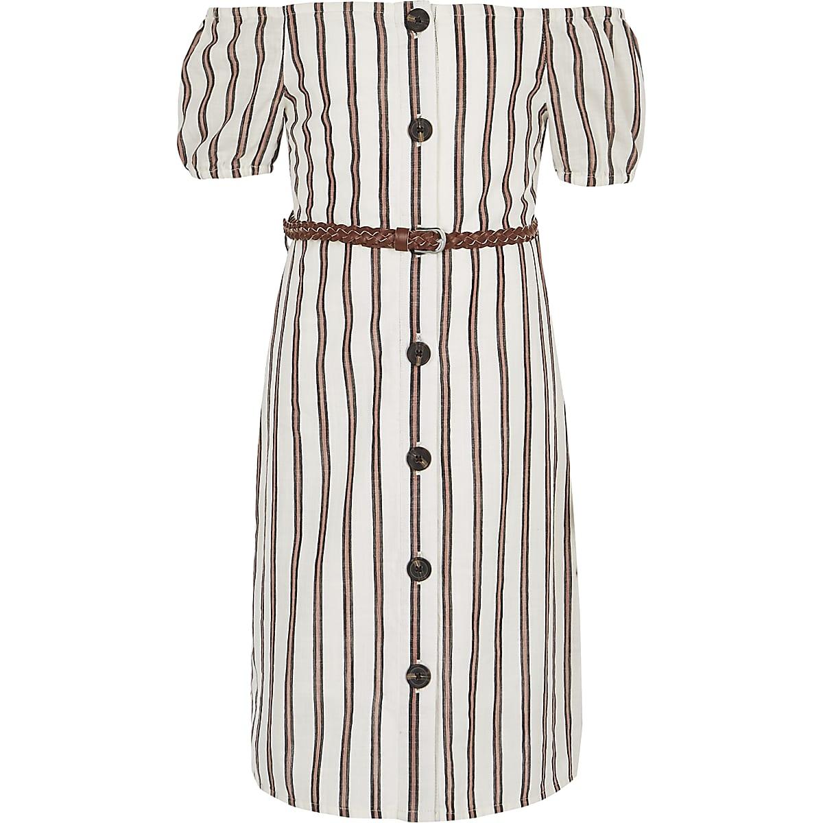 Girls white stripe bardot dress