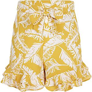Short imprimé feuillage jaune à volants pour fille