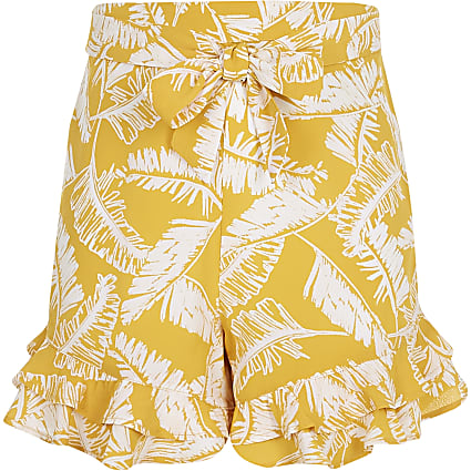 Girls yellow leaf print  frill shorts