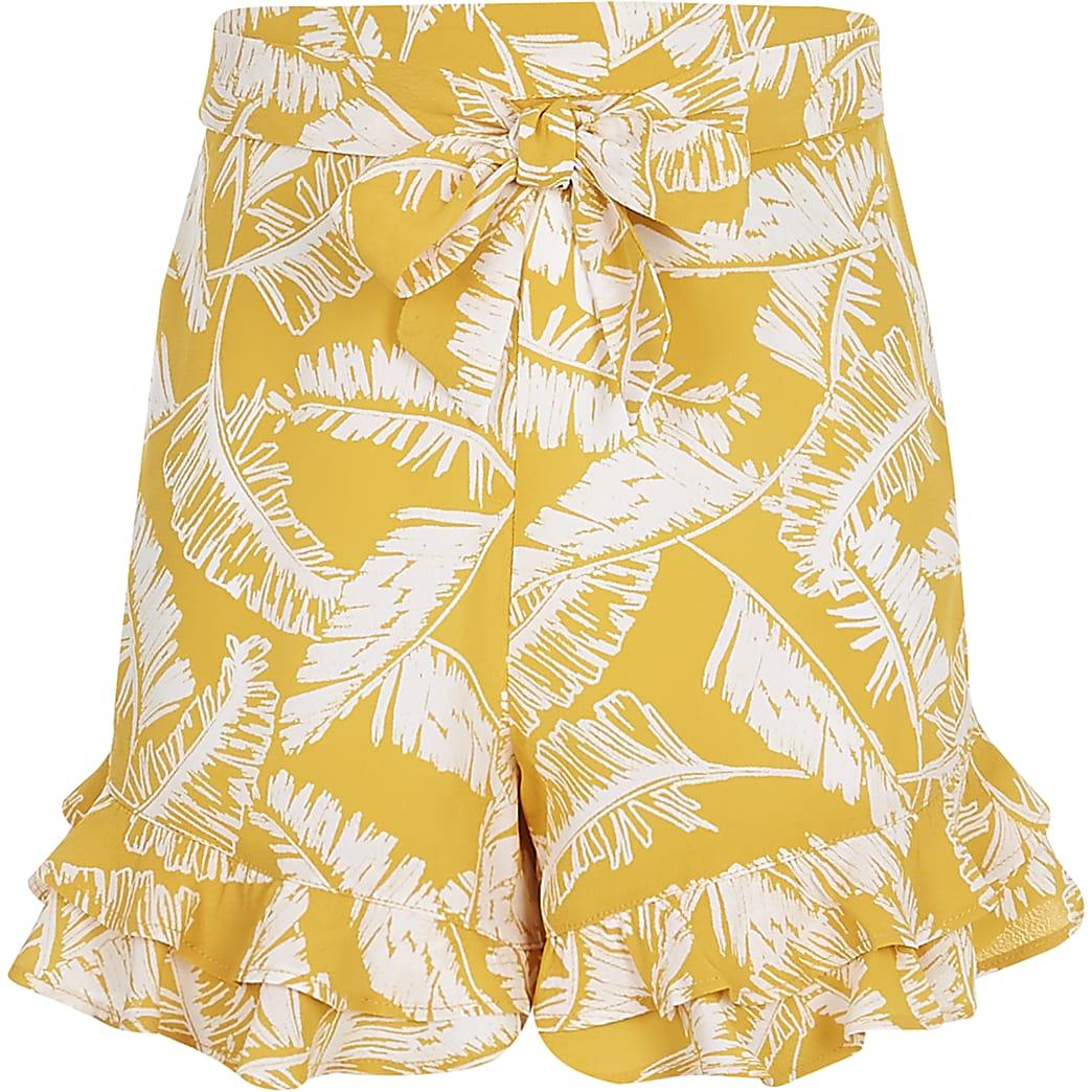 Gele short met bladprint en ruches voor meisjes