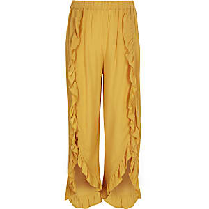 Girls yellow ruffle wide leg pants