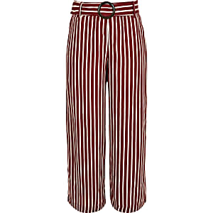 Girls red stripe wide leg trousers