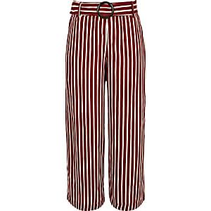 Pantalon large rayé rouge pour fille