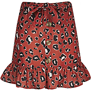 Girls red leopard print frill skirt