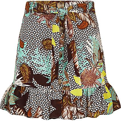 Girls cream printed frill skirt