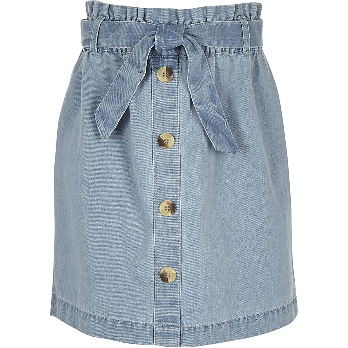 Girls blue paperbag denim skirt