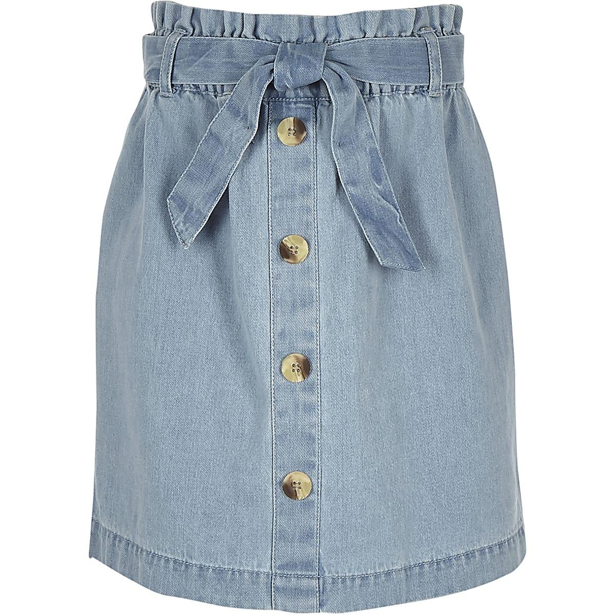Girls blue paperbag denim skirt
