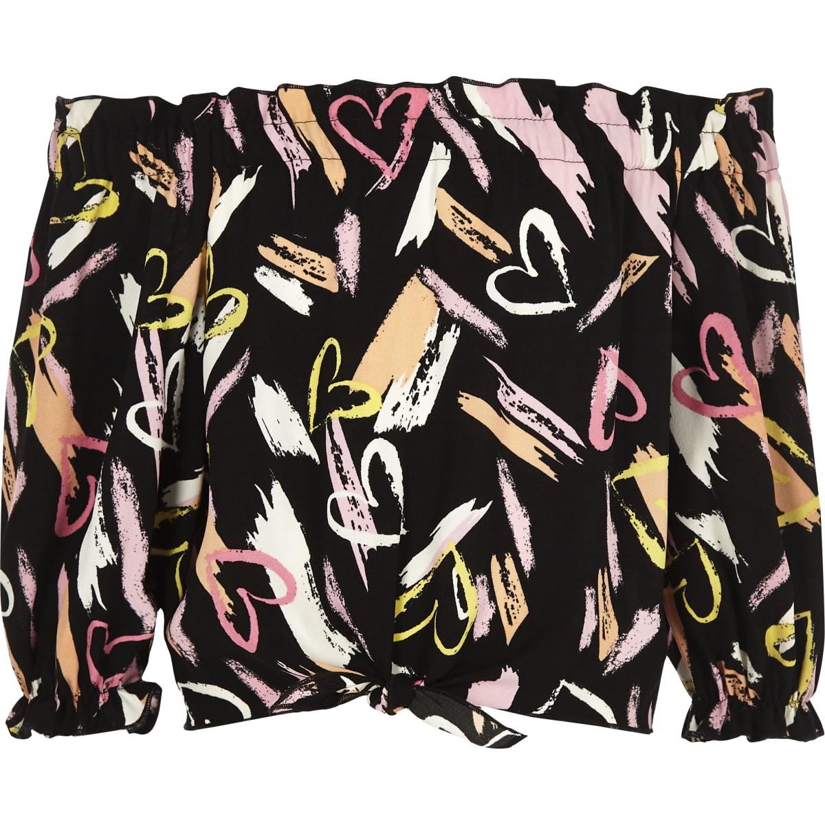 Girls lack heart print tie front bardot top