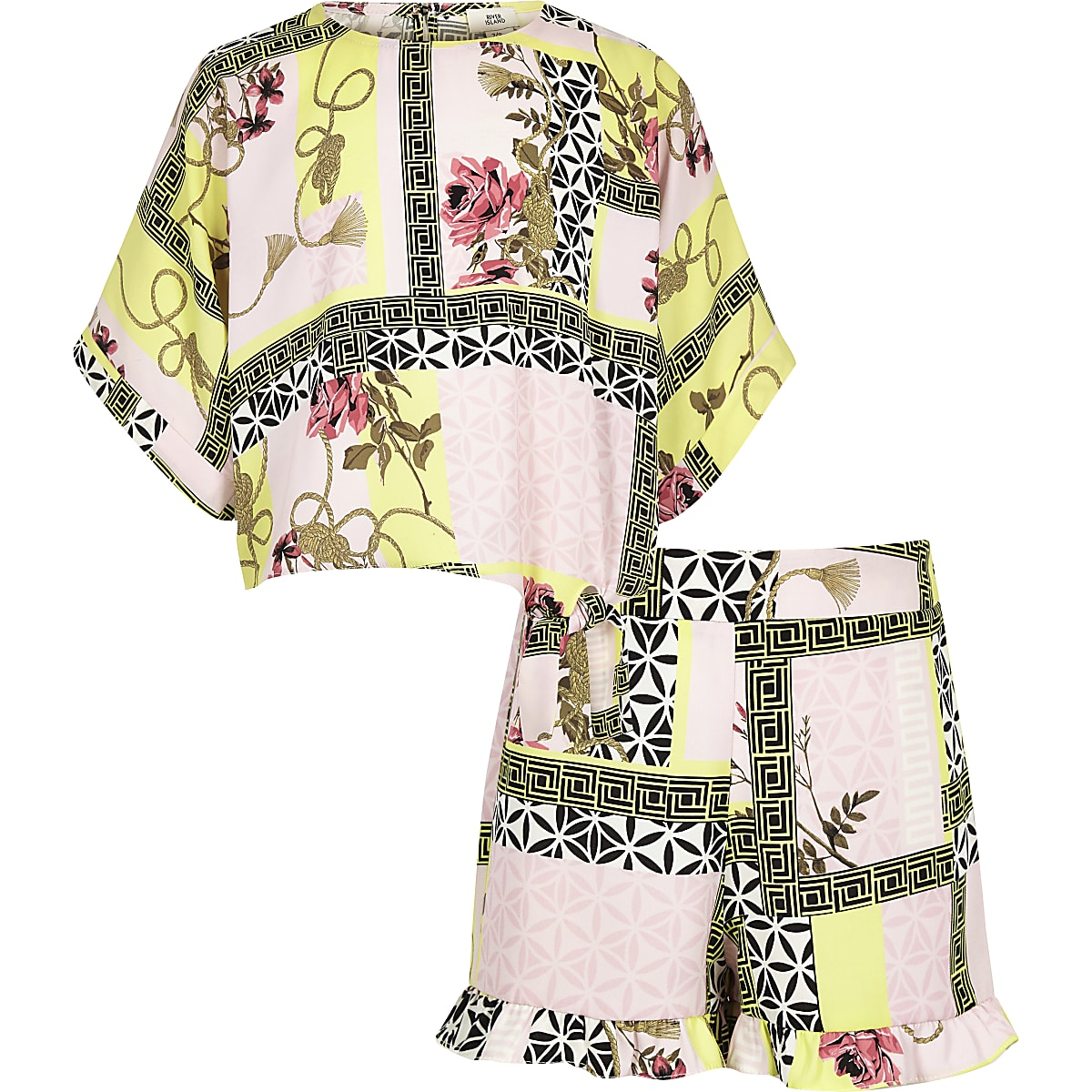 Girls pink floral short outfit